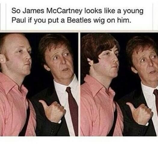 James McCartney looks identical to Faul with a Beatles wig ...