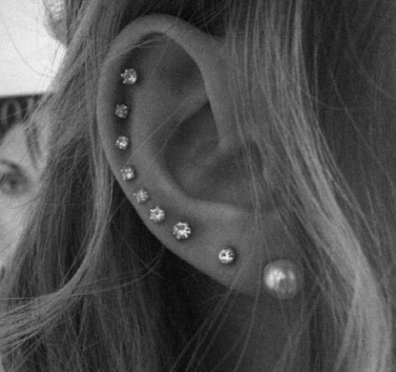 Ear peircings all the way up and down your ear! I would never go this far, but it's cute and simple