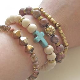 Shop Bijouterie » Light Wood Turquoise Cross Bracelet