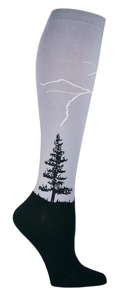 o lightning can strike twice - once for each of your legs.  Grey knee high socks with white lightning streaks hitting black pine trees.  Fits women's shoe size 5-10.