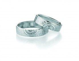 Silver Wedding Rings, brilliants 0,025ct W/Si