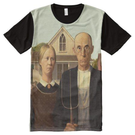 Grant Wood American Gothic Fine Art Painting All-Over-Print T-Shirt - click to get yours right now!