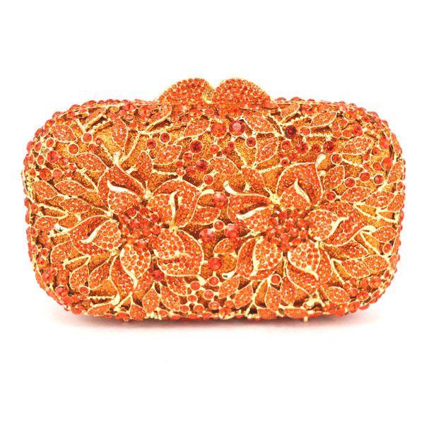 Flower Pattern Blue Luxury Crystal orange Evening Clutch Bag