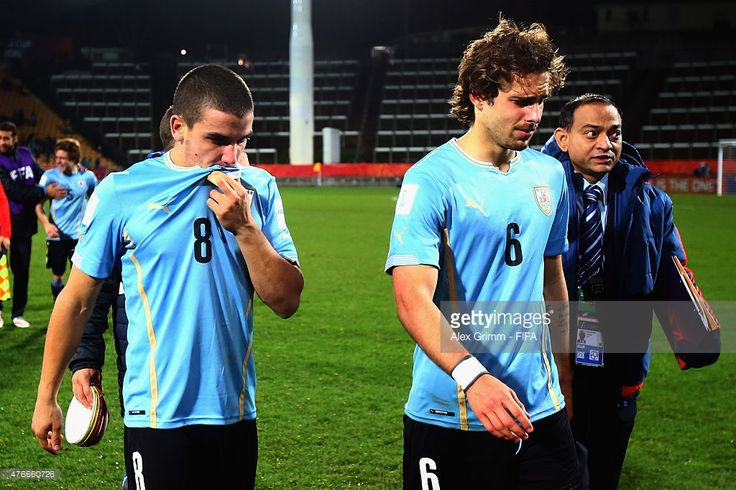 Mauro Arambarri (L) and Diego Poyet of Uruguay react after the FIFA U-20 World Cup New Zealand 2015 Round of 16 match between Brazil and Uruguay at Stadium Taranaki on June 11, 2015 in New Plymouth, New Zealand.