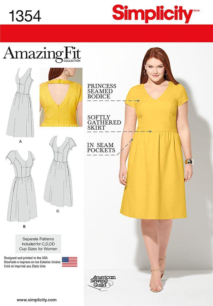 Simplicity Creative Group - Misses' & Plus Size Amazing Fit Dress - keyhole back
