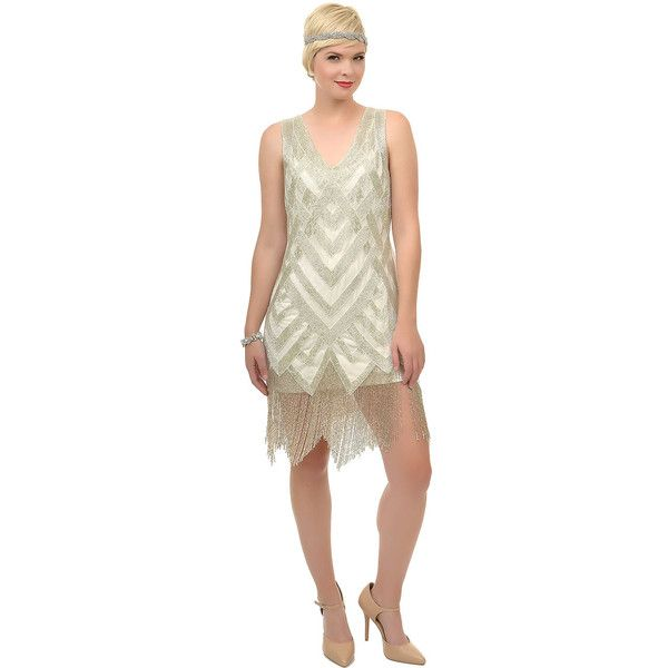 Unique Vintage 1920s Style Ivory Deco Beaded Forster Flapper Dress ($378) ❤ liked on Polyvore featuring dresses, ivory, 1920s flapper dress, white babydoll dress, white beaded cocktail dress, vintage dresses and white dress