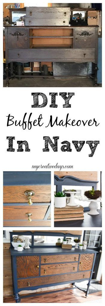 DIY Buffet Makeover - Looking for a great way to make over a buffet? Check out this easy DIY Buffet Makeover in navy from My Creative Days!