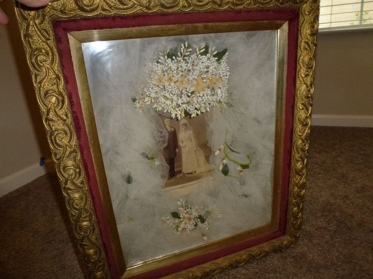 1800's Victorian Wedding Shadow Box Original Bridal Veil