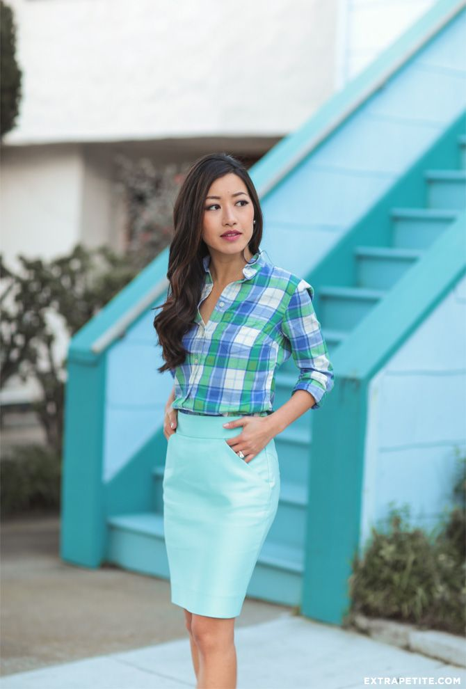 spring fashion // office outfit idea: teal blue skirt + flannel shirt