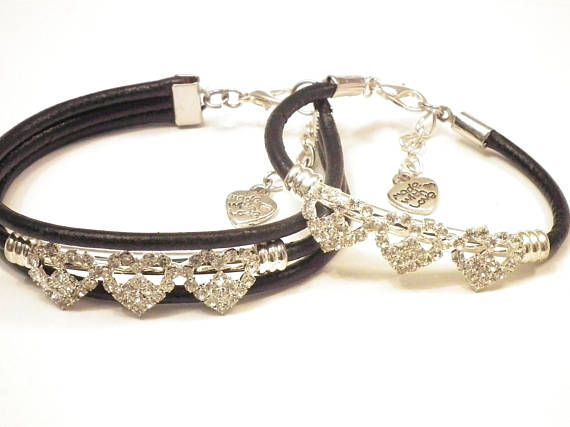 Mother and Daughter Black leather and Rhinestone hearts