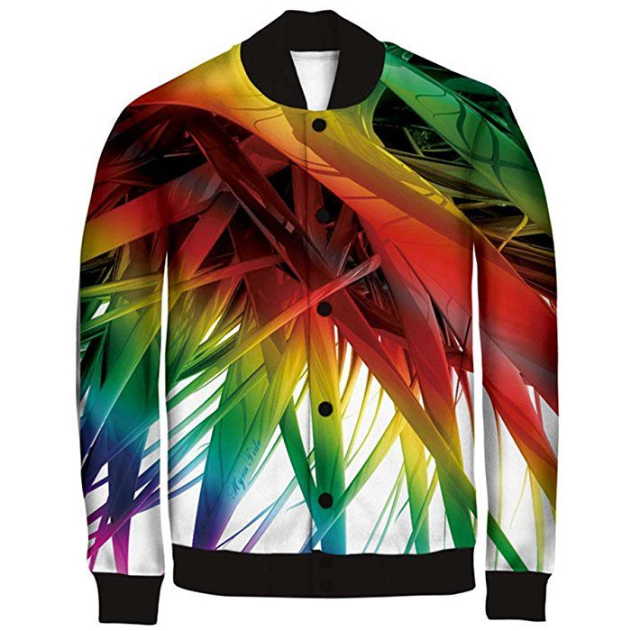 RXBC2011 Men's Art Rainbow 3D Print Bomber Baseball Jacket M Multicoloured