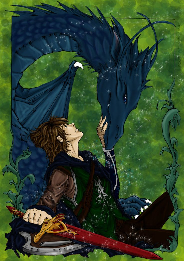 Eragon & Saphira (Note the color of the sword, this is in one of the first two books because he does not have Brisinger, which is blue)