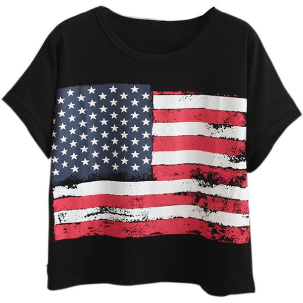 Chicnova Fashion American Flag Print Loose T-shirt (£15) ❤ liked on Polyvore featuring tops, t-shirts, roll sleeve t shirt, loose tops, american flag tee, cut loose tops and loose t shirt