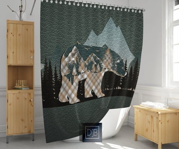 Rustic Mountains And Plaid Bear Shower Curtain Forest Wildlife Shower Curtain Hunting Outdoors In 2020 Wildlife Shower Curtains Custom Shower Curtains Unique Shower Curtain