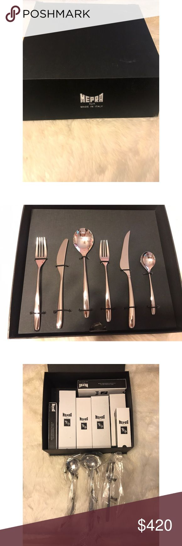 Mepra Unika Special Cutlery Set (87 PC) • One ladle • One serving spoon •One serving fork • 12 table spoons • 12 table forks • 12 table knives • 12 European coffee spoons • 12 dessert spoons • 12 dessert forks • 12 dessert knives  Features:  87 piece cutlery set Made of 18/10 stainless steel Packaged in a gift box Mepra Other