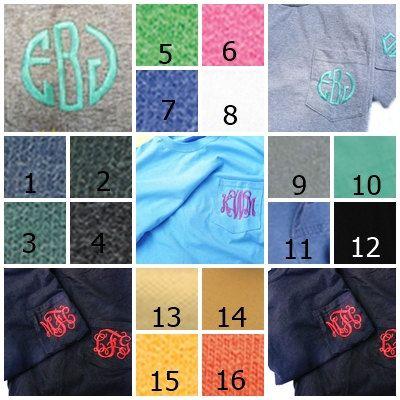 monogrammed pocket t-shirt, personalized pocket t-shirt, Comfort colors t shirt on Etsy, $17.00