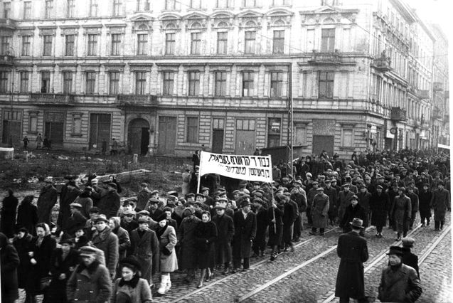 Lodz, Poland, A funeral for four Jews murdered by Poles after the war.