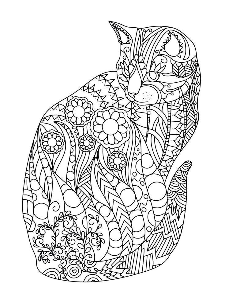 Mandala Cat Art Mandala | Coloriage mandala animaux ...