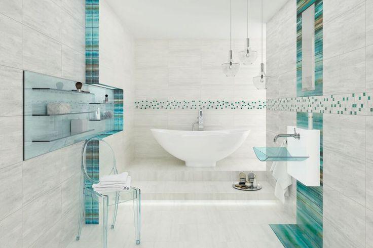 LATERIZIO, modernistyczna kolekcja szarych matowych płytek(72,60 zł/m2), miętowo-błękitne szklane wstawki (147,60 zł/sztuka), CERAMIKA PARADYŻ. #lazienka #toaleta #inspiracje #wnetrza #dom #kran #słuchawka #łazienki #kabina #wanna #mieszkanie #willa #projektowanie #architektura #design #interior #bath #shower #bathroom #inspiration #ideas #white #modern #2018 #glamour #style