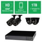 Q-SEE 4-Channel 1080p 1TB Full HD Surveillance System with (2) 1080p Bullet Cameras and (2) 1080p Dome Cameras