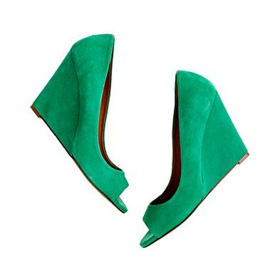 the suede postscript peep-toe #wedge #green #suede