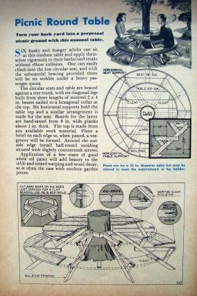 How-to Build a Round Picnic Table Around a Tree.  An Original 1946 ONE-Page how-to build Article/Plan it was removed from a vintage magazine.
