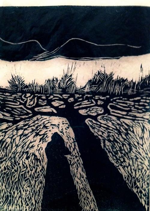 winter 2, maureen nathan, artist & printmaker, linocut, 20 x 15 cm, edition of 10, via the artist's site