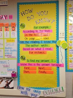 Great bulletin board to help students respond to text with sentence starters when providing evidence (image only)!