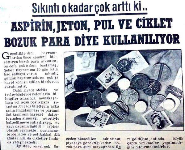 """""""Paranın üstünü aspirin olarak veren eczacı..."""" (Bozuk para sıkıntısı ile ilgili eski bir haber) #istanlook #nostalji #birzamanlar"""