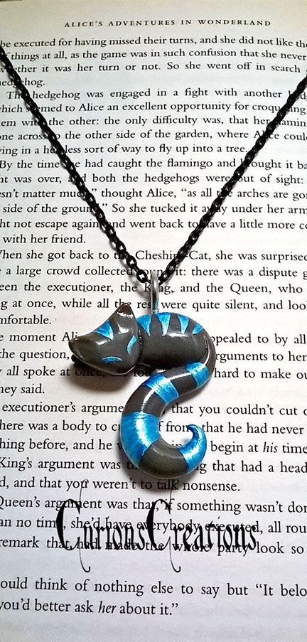 Blue and Grey Cheshire Cat necklace. fantasy literature gift. handmade polymer clay jewelry by CuriousCreations123 (Diy Necklace Pendant)
