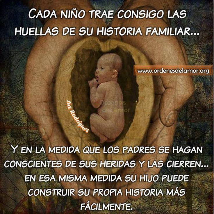 ... Cada niño trae consigo las huellas de su historia familiar... y en la medida que los padres se hagan conscientes de sus heridas y las cierren... en esa misma medida su hijo puede construir su propia historia más fácilmente.