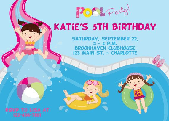 Pool party birthday invitation -- girls pool party - water slide invitation- swimming party - girl swimmer on Etsy, $12.00
