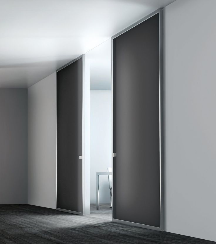 Modern interior sliding door featuring an acid etched smoked grey glass with stainless steel frame