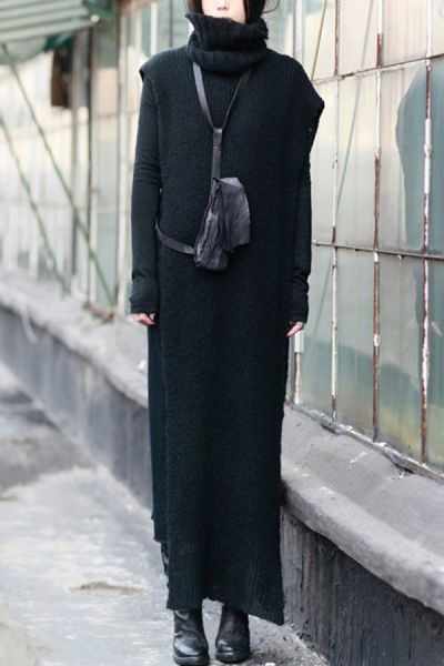 Turtleneck Cape Style Knitted Dress OASAP.com --- LOVE this leather sling pouch!! -: