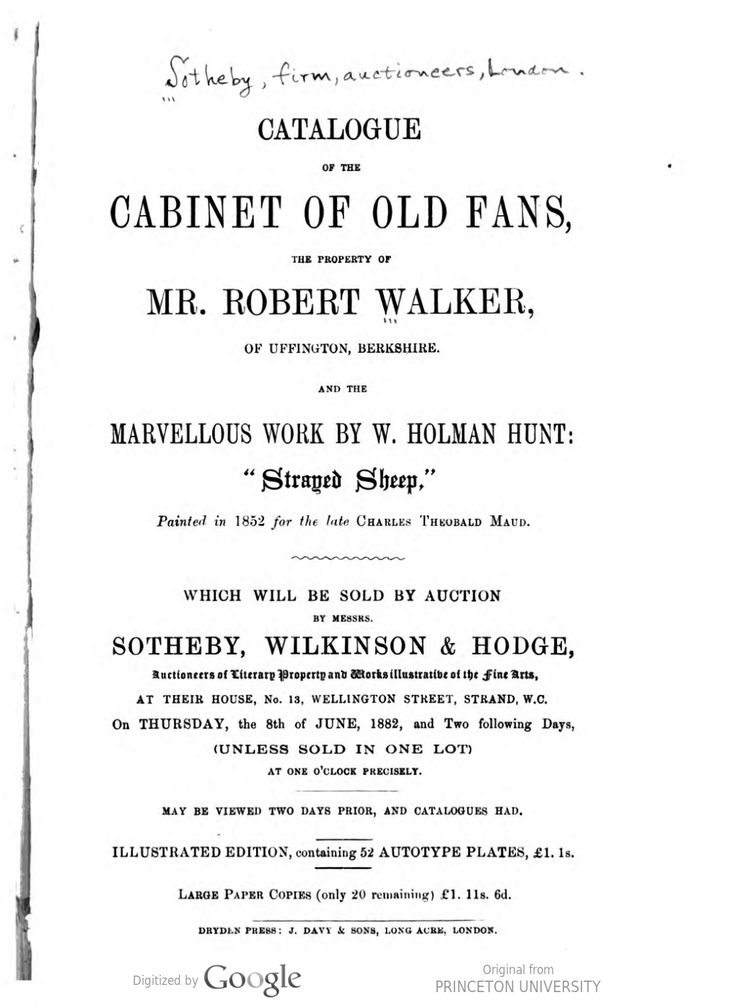 1882 - Catalogue of the Cabinet of Old Fans the Property of Mr Robert Walker, 1882, London (inside had 52 autotype plates)