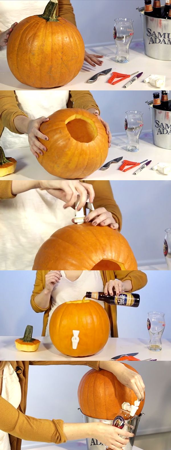 Create a pumpkin beer keg for your Halloween party this year!