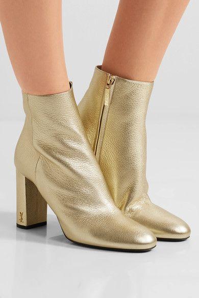 Saint Laurent - Lou Lou Metallic Textured-leather Ankle Boots - Gold - IT