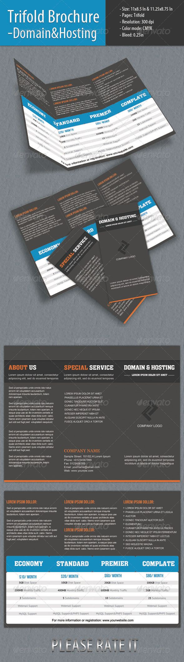 Trifold Brochure - Domain & Hosting