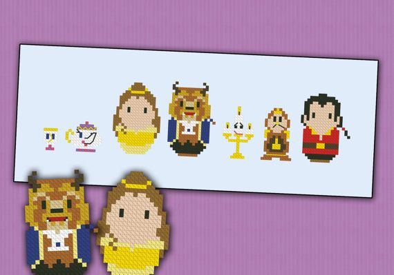 Beauty and the Beast parody  Cross stitch PDF por cloudsfactory