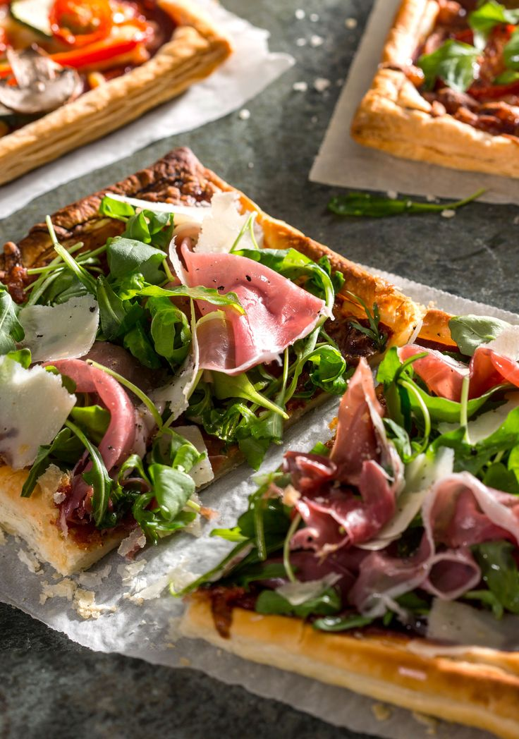 Quick and easy, these pastry pizzas are a perfect Friday night treat – you can have all your favourite pizza toppings, but on a crisp, flaky pastry base. Sally has suggested some classic toppings here, such as Parma ham and rocket, but you can experiment with your own ingredients.