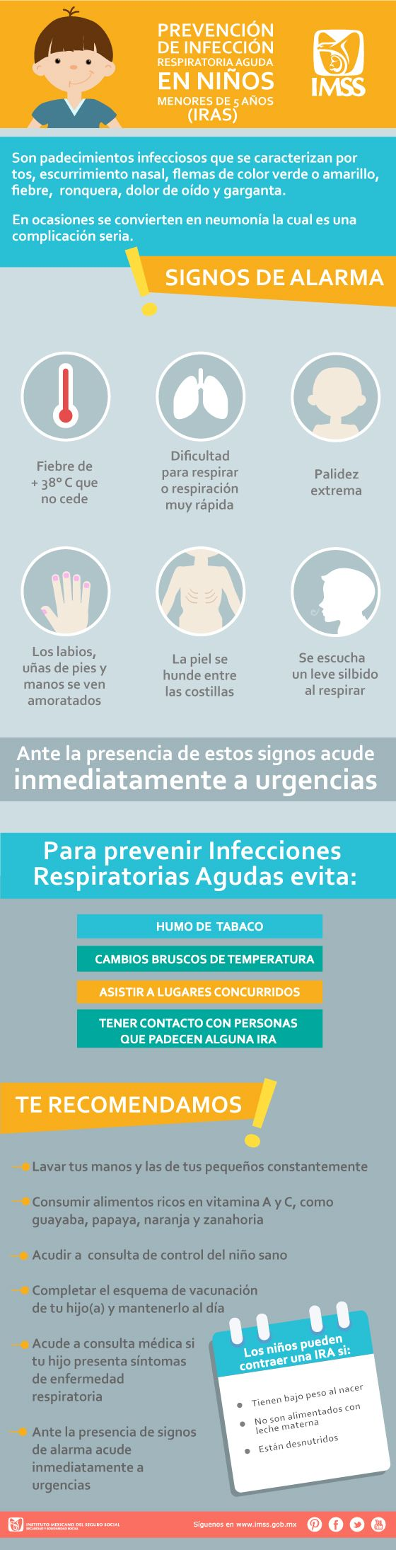 Son padecimientos infecciosos que se caracterizan por tos, escurrimiento nasal, flemas de color verde o amarillo, fiebre, ronquera, dolor de oído y garganta.