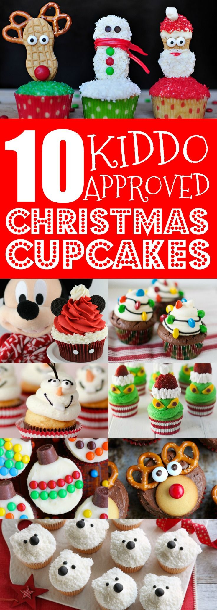 These Christmas cupcake ideas for kids are so CUTE!! I'm so happy I found these EASY holiday cupcake recipes & will love decorating these with my children! Now I have something AMAZING to bring for school holiday parties! Definitely pinning!