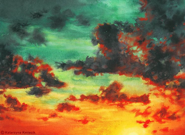 Watercolor Painting Of The Colorful Sunset Sunset Clouds