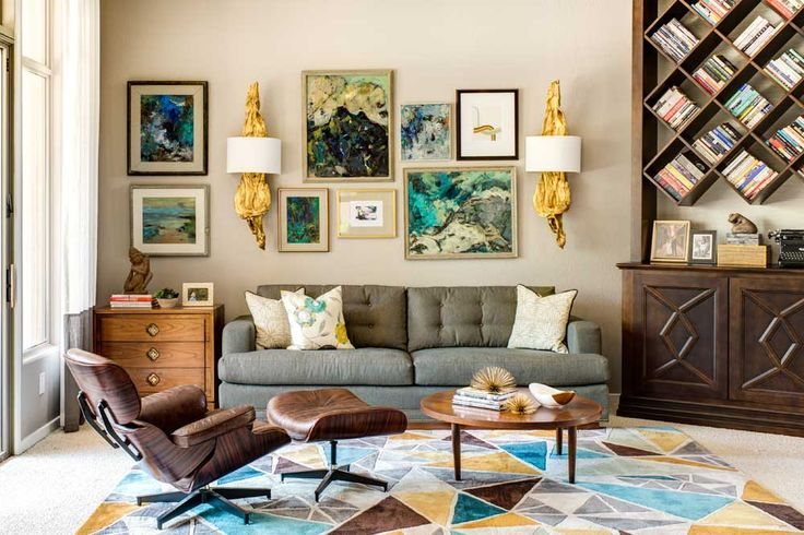 Living Room Feature Wall Design Ideas with artistic picture and grey also leather sofa