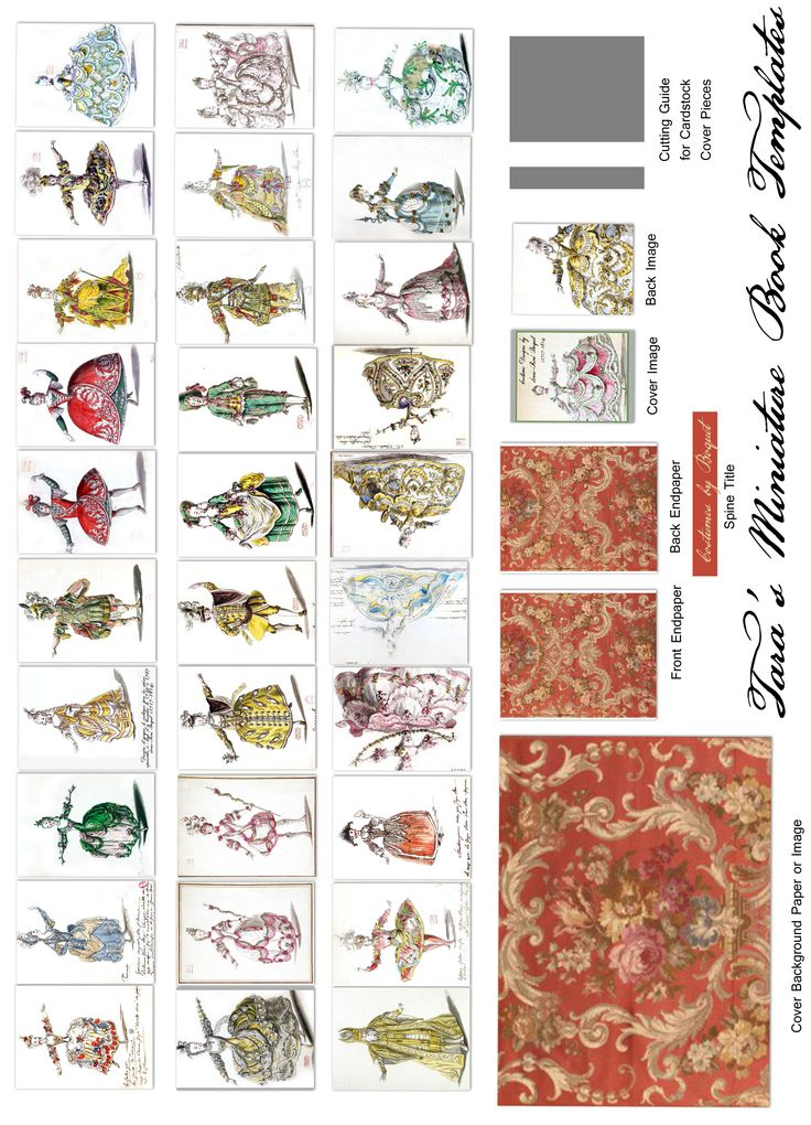 """My Louis-Rene Boquet free mini-book Printie in full 1.5"""" size. Boquet was the costume designer for French Court entertainments during the reigns of Louis XV, & XVI and made designs for Marie Antoinette."""