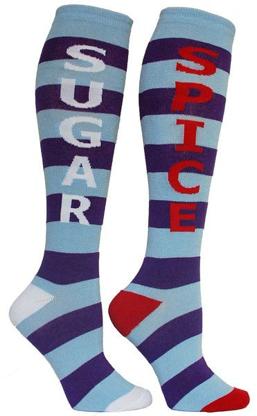 Striped knee high socks with SUGAR in white lettering on one sock and SPICE in red on the other.  Unisex design: fits a women's shoe size 7 - men's 13.5.