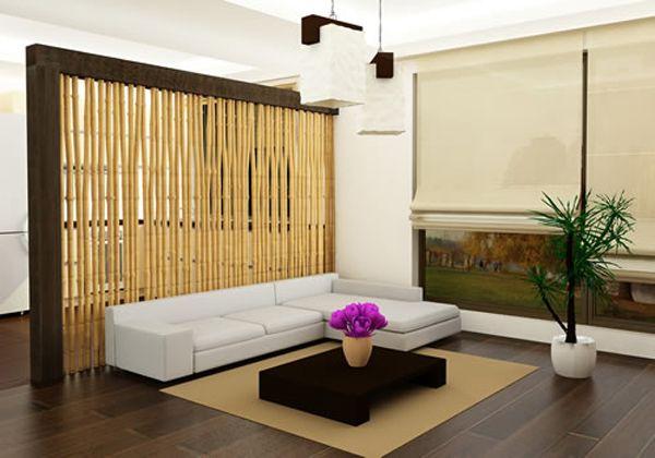 Parede de bambú. Home decor with bamboo sticks.- room divider