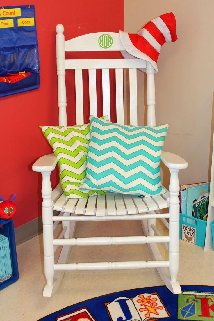 Step 2 rocking chair - White Teacher Chair With Chevron Pillows
