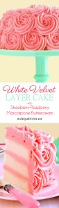 White Velvet Layer Cake with Strawberry-Raspberry Mascarpone Buttercream by WickedGoodKitchen.com ~ Moist, tender white cake reminiscent of its buttermilk cake cousin, Red Velvet Cake, our White Velvet Layer Cake is flavored with pure almond extract and a hint of vanilla. It is iced with a truly extraordinary frosting that tastes just like strawberry-raspberry cheesecake!