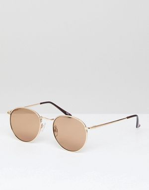 2bee4116972 ASOS 90s Metal Round Sunglasses In Gold